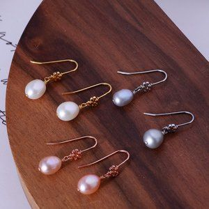 Tory Burch Delicate Logo Natural Pearl Earrings